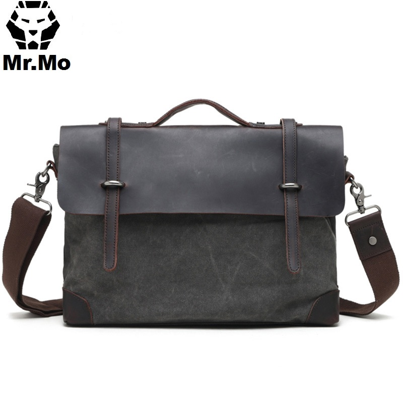 Shoulder Men 9.7 14 inch Canvas Leather Vintage Messenger Bag for College Student Male Back to School Satchel Laptops Bag ...