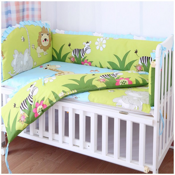 Promotion! 6PCS Lion Baby Kit Crib Cot Bedding Sets Comforter Bumpers Baby Sheet Dust Ruffle (bumpers+sheet+pillow Cover)
