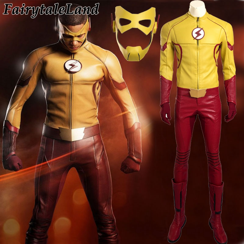 The Flash season 3 Wally West Kids Flash cosplay costume superhero Halloween costumes for adult men