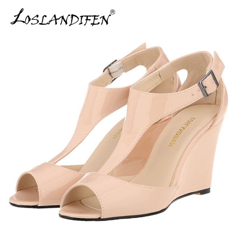LOSLANDIFEN New Wedges Women Sandals Sexy Peep Toe Platform Summer Casual Shoes Buckle Woman T-Strap High Heels Party Sandals akexiya 2017 suede gladiator sandals platform wedges summer creepers casual buckle shoes woman sexy fashion high heels