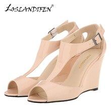 Здесь можно купить  LOSLANDIFEN New Wedges Women Sandals Sexy Peep Toe Platform Summer Casual Shoes Buckle Woman T-Strap High Heels Party Sandals