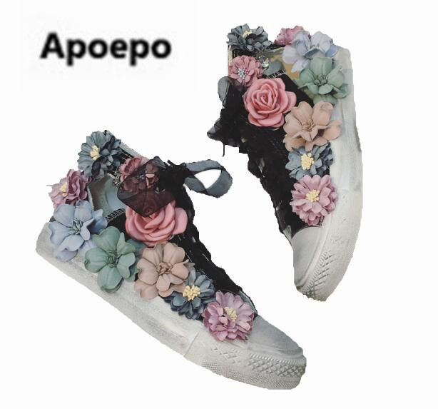 Apopeo women sneakers handmade design white canvas flats shoes lace up cut-out rubber boots women 2018 spring summer ankle boot vintage embroidery women flats chinese floral canvas embroidered shoes national old beijing cloth single dance soft flats
