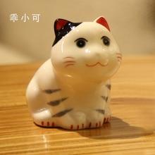 cute mini 4 pcs ceramic maneki neko home decor crafts room decoration porcelain animal figurine lucky cat ornament gift
