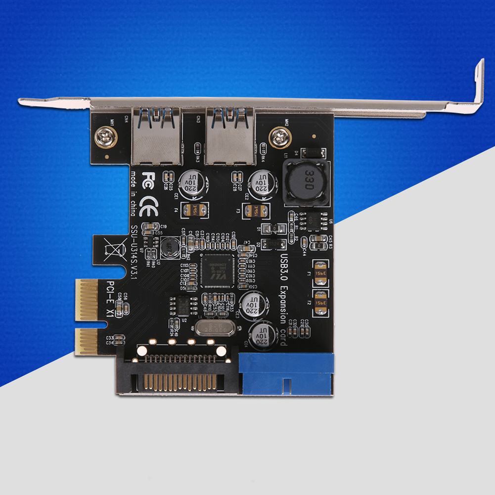 U3V14S 2 Port 19Pin USB 3.0 Card PCI-e да ўнутранага 20Pin порта Адаптар PCI Express 5.0Gbps Дадаць на карту для ПК Ноутбук