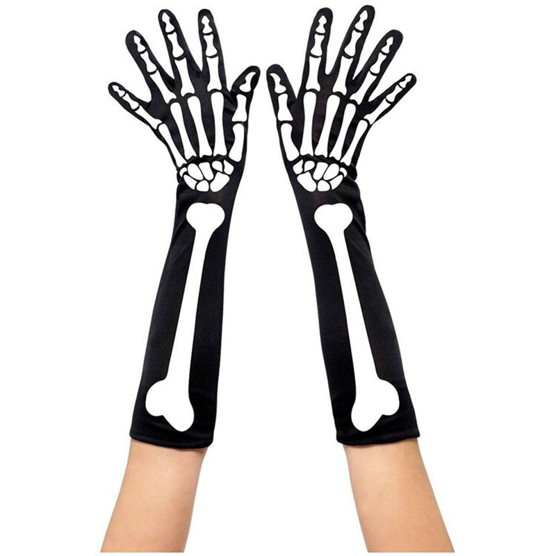 Adult Men Women Halloween Gothic Punk Scary Skeleton Costume Accessory Long Sleeves Gloves 3D Bone Printed Unisex One Size