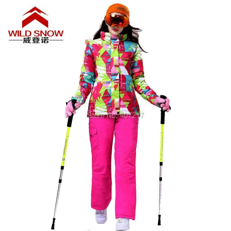 Prix pour 2016 femmes couleur correspondant combinaison de ski féminin snowboard costume neige costume géométrique ski veste et hotpink ski pantalon de neige porter vêtements de ski