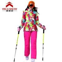 2016 womens màu phù hợp với phù hợp với trượt tuyết nữ snowboard phù hợp với tuyết phù hợp với hình học áo khoác trượt tuyết và hotpink quần trượt tuyết tuyết mặc skiwear