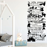 Cartoon Lion King Mickey Minnie In This House We Do Quote Rules Wall Art Stickers Decals Nursery for kids rooms Decor B619
