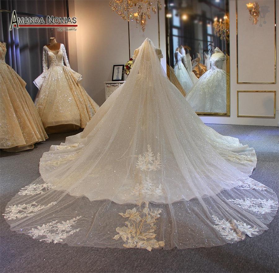 2019 Luxury Long Lace Veil Wedding Veil Sparkling Bridal Veil 3*4 Sizes