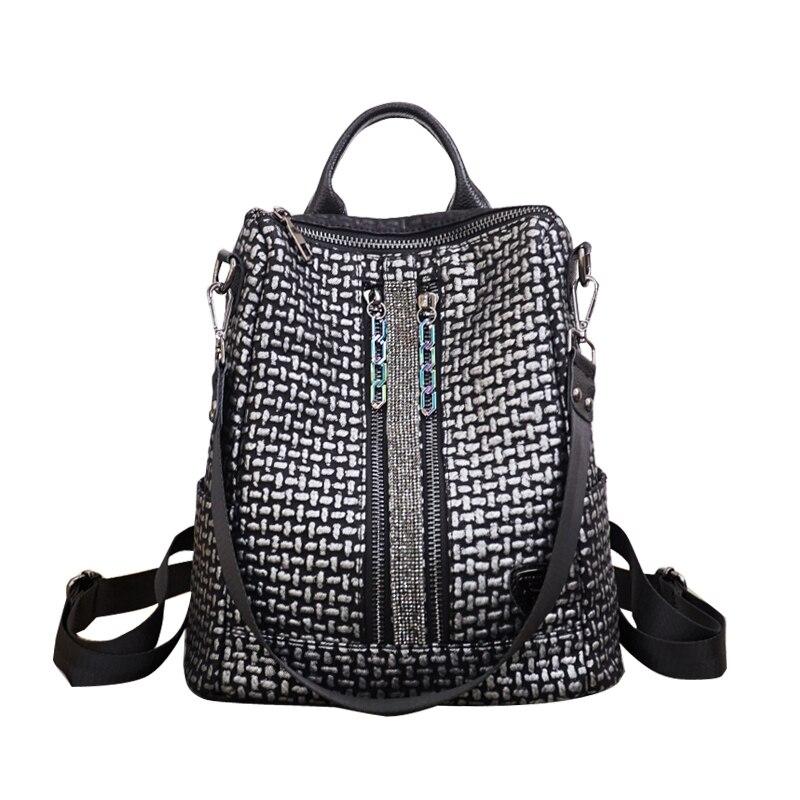 Women Soft Leather Backpacks Vintage Female Shoulder Bag Double Zipper Design Travel Lady Bagpack Mochilas School