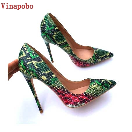 Vinapobo Sexy Women Pumps Green Snake Pattern Extreme Stilettos high heels Shoe Pointed Toe 12CM Fashion