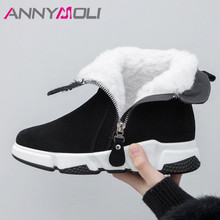 ANNYMOLI Winter Snow Boots Women Cow Suede Zipper Flat Platform Ankle Warm Wool Round Toe Short Shoes Lady Big Size 35-42