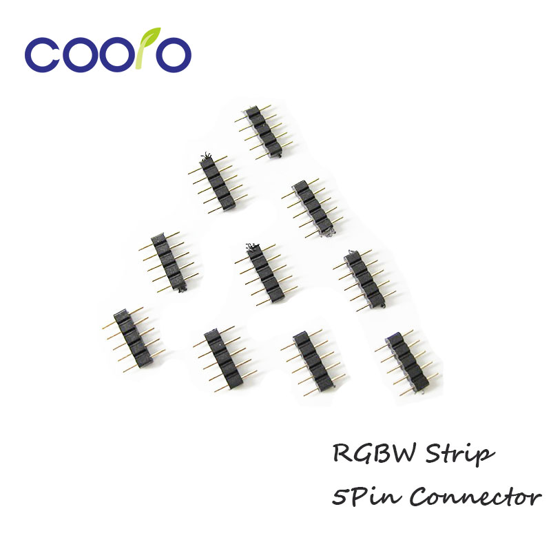 10pcs/lot, 5pin RGB connector, 5 pin needle, male type double 5pin, for LED RGBW strip connector 1set lot gx16 2 pin male