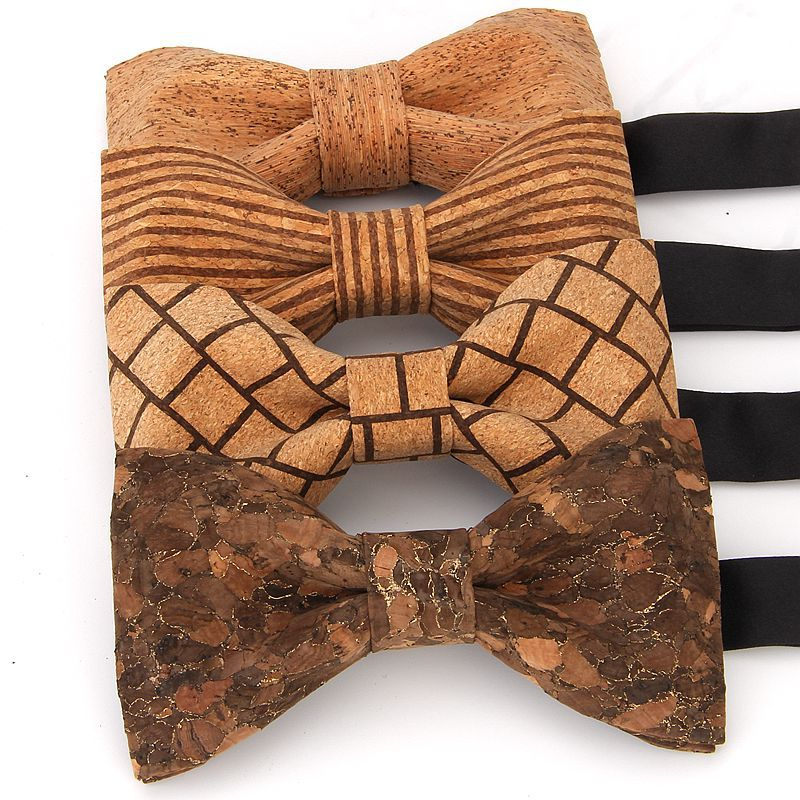 YISHLINE Novelty Cork Wood Men's Bow Tie Wooden Bow Ties Handmade Floral Bowtie For Men Wedding Party Accessories Neckwear