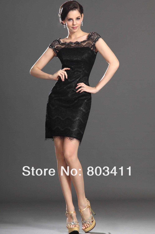 Free Shipping New Fabulous Cap Sleeve Beaded On Neckline Little Black Cocktail Dress