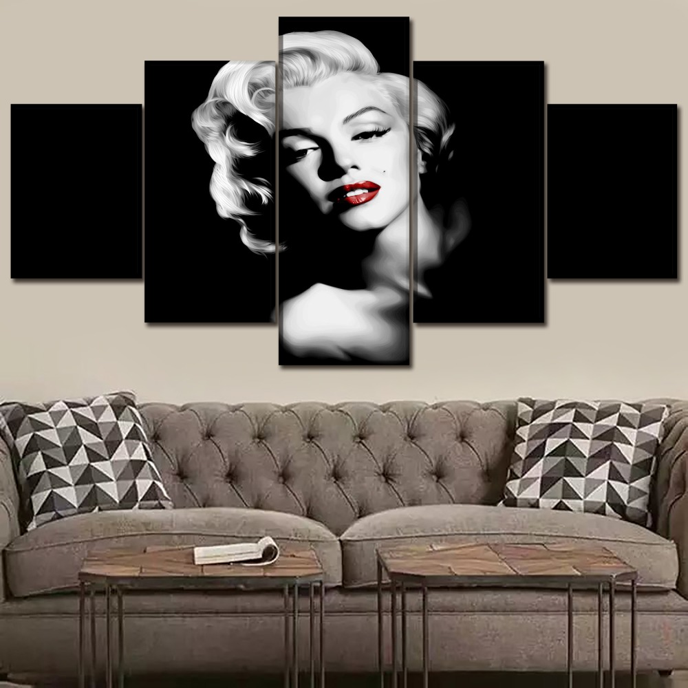5Pcs Marilyn Monroe Movie Quote Print Painting Picture Wall Art Split Canvas Hom