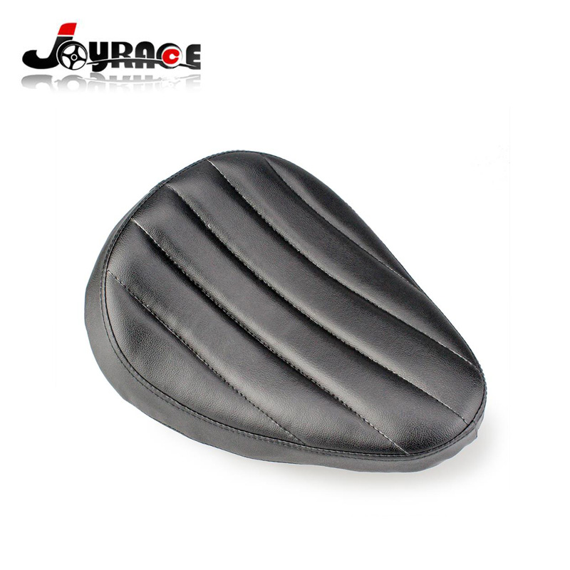 Motorcycle Black Leather Stripe Solo Spring Seat For Harley Sportster Chopper Custom Bobber for Honda Yamaha Kawasaki Suzuki motorcycle black solo driver seat base spring bracket kit for harley sportster custom for honda yamaha kawasaki c 5
