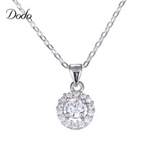 DODO chic white gold color 1cm round pendant necklace for women flowers shining crystal jewelry link chain femme bijoux gift DN1