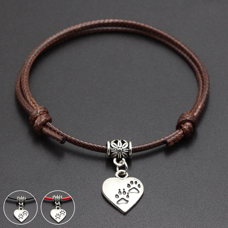 2020 New Double Dog Paw Pendant Red Thread String Bracelet Lucky Black Coffee Handmade Rope Bracelet for Women Men Jewelry