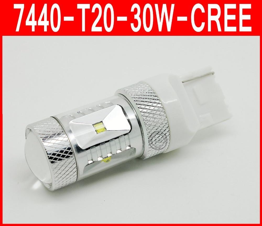 2x High Power 30W 7440 7443 T20 6Xchips LED Car Tail Brake Reverse Turn Light Bulb Xenon White Lamp Vehicle DRL LED Lighting 2x t20 7443 7440 w21 5w w21w creechip bulb 6000k white auto car led for brake light reverse turn signal light dc12v 24v