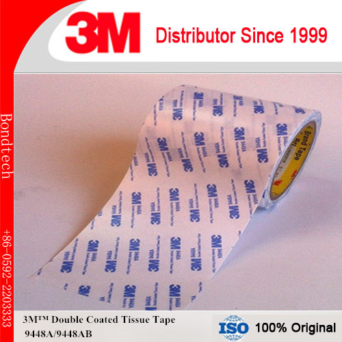 70mmx50M Pack of 1 3M Double Coated Tissue Tape 9448A for Nameplate/Foam bonding, white