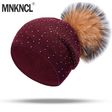 MNKNCL 2018 New Cashmere Winter Hat For Women Girl Rhinestones Knitted Keep Warm Beanies With Real Mink Pompom Hats