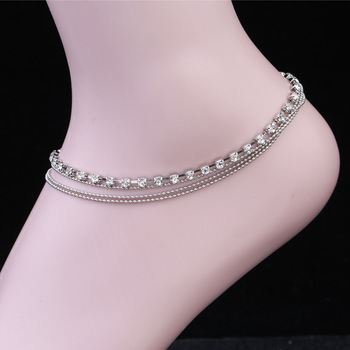 Women's Multi-layer alloy Chain Rhinestone Crystal Anklet Foot Chain 2