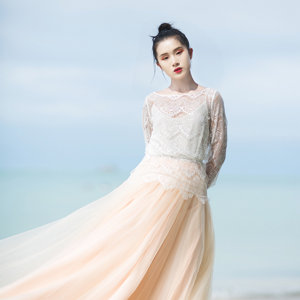 IRINAW619 nieuwe collectie zomer 2018 driekwart mouw vintage witte wimper kant top vrouwen shirt - 2