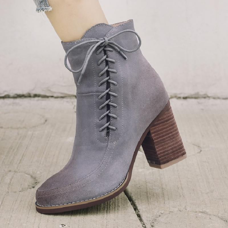 winter boots women ankle boots for women chelsea boots 2017 fashion cow suede high heel autumn ladies shoe free shipping &AN2810 цены онлайн