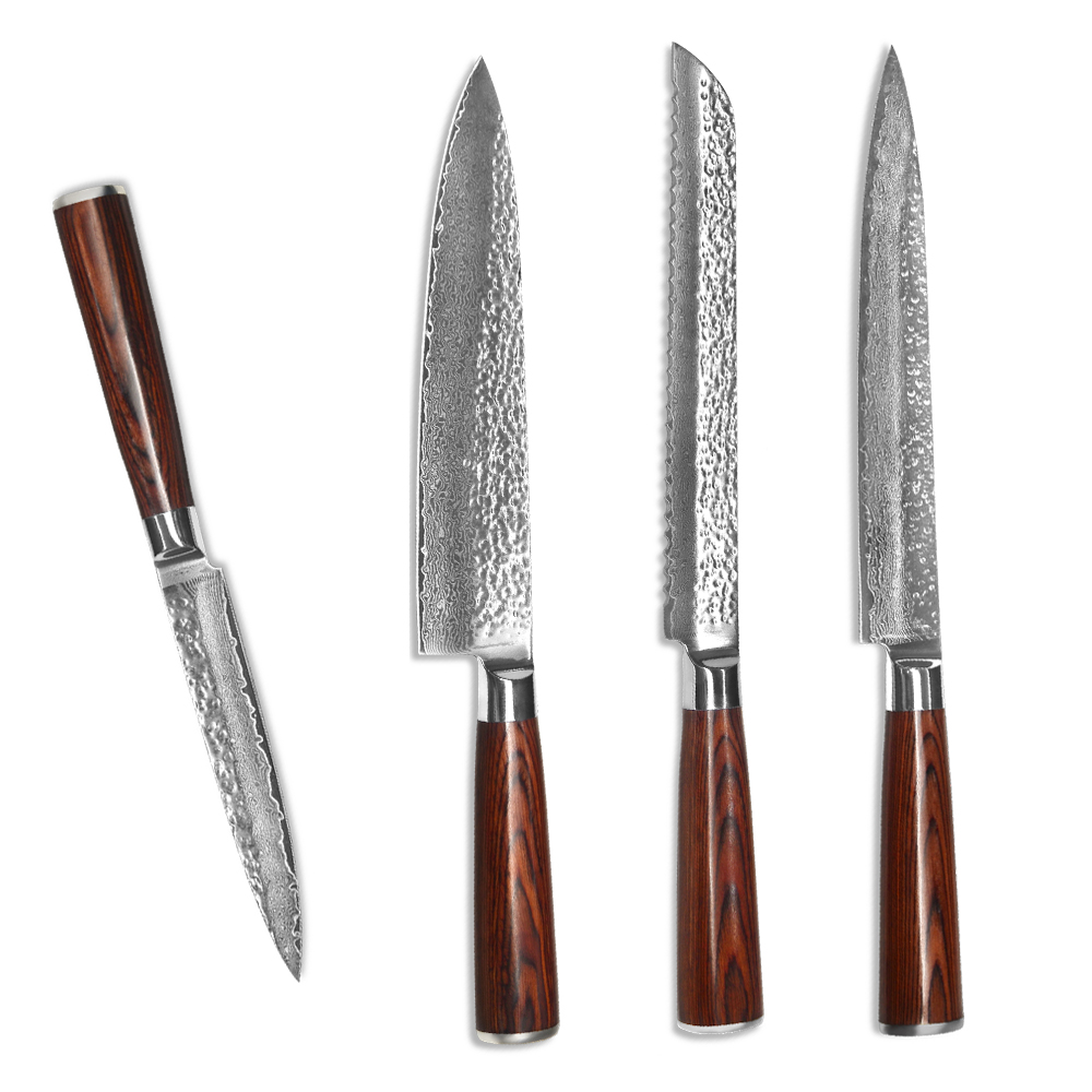 xyj brand kitchen knives set 5 utility 8 slicing bread chef knife japanese vg10 damascus steel. Black Bedroom Furniture Sets. Home Design Ideas
