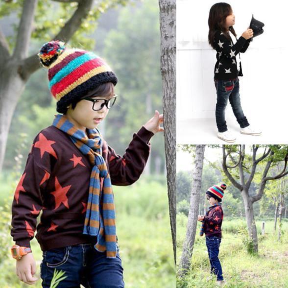 Kids-Boys-Girls-Cotton-Clothes-Long-Sleeve-Stars-Print-Knitwear-Outwear-Coat-Jacket-Tops-2