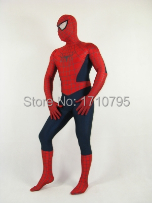 Blue And Red Lycra Spandex Spider-Man costume fullbody halloween cosplay Zentai Suit Spiderman superhero costume free shipping