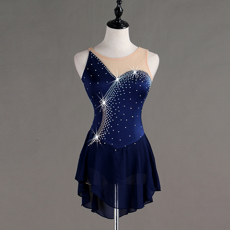 Figure Skating Dress Women's / Girls' Ice Skating Dress Navy Blue / Rose Red / Blue High Elasticity Competition Skating WearB008