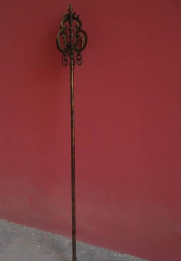Антиквариат художественная коллекция Редкий Старый китайский буддийский монах персонал, медь, длина 2 м, лучшее украшение