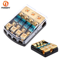 POSSBAY Car Auto Vehicles Audio 1 In 4 Ways Out Fuse Holder Fuse Box Universal Waterproof Car Stereo Audio Parts Electronics