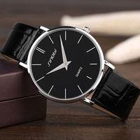 Super Slim Quartz Casual Wristwatch Business JAPAN SINOBI Brand Genuine Leather Analog Quartz Watch Men S
