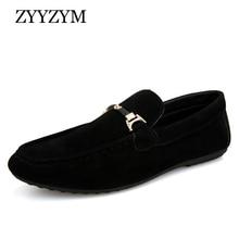 ZYYZYM Men Loafers Moccasins 2019 Spring Summer Men Casual Shoes Slip On Light Flock Youth Men Shoes Breathable Flat Footwear
