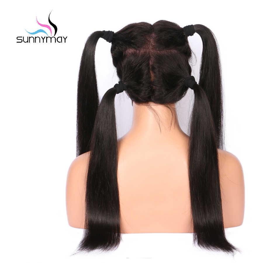 Sunnymay предварительно сорвал Full Lace человеческих волос парики с ребенком волосы прямые Full Lace парики отбеленные узлы Remy бесклеевой волос парики