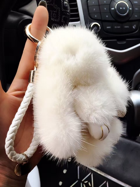 Plush White Real Mink Fur Bunny Bag Charm Luxury Cute Handbag Charm Key chains Lanyards Car Keys Ring