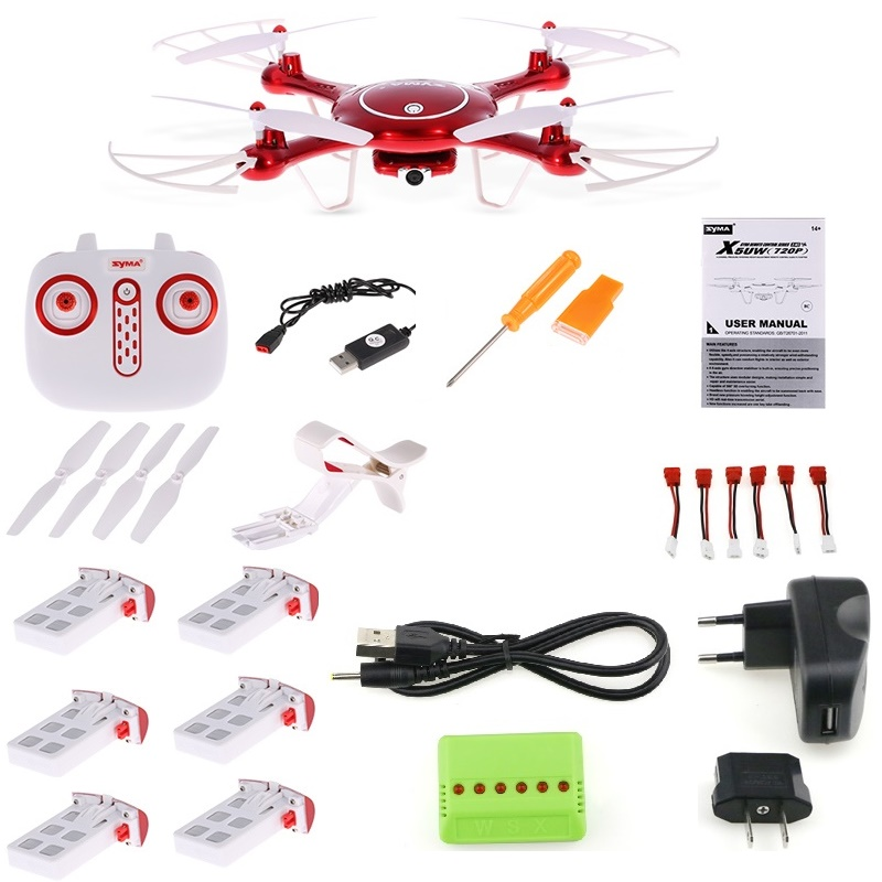 все цены на  Original Package Syma X5UW WIFI 720P  2MP HD Camera FPV RC Drone Altitude Hold Headless Mode RC Quadcopter with 6pcs battery  онлайн