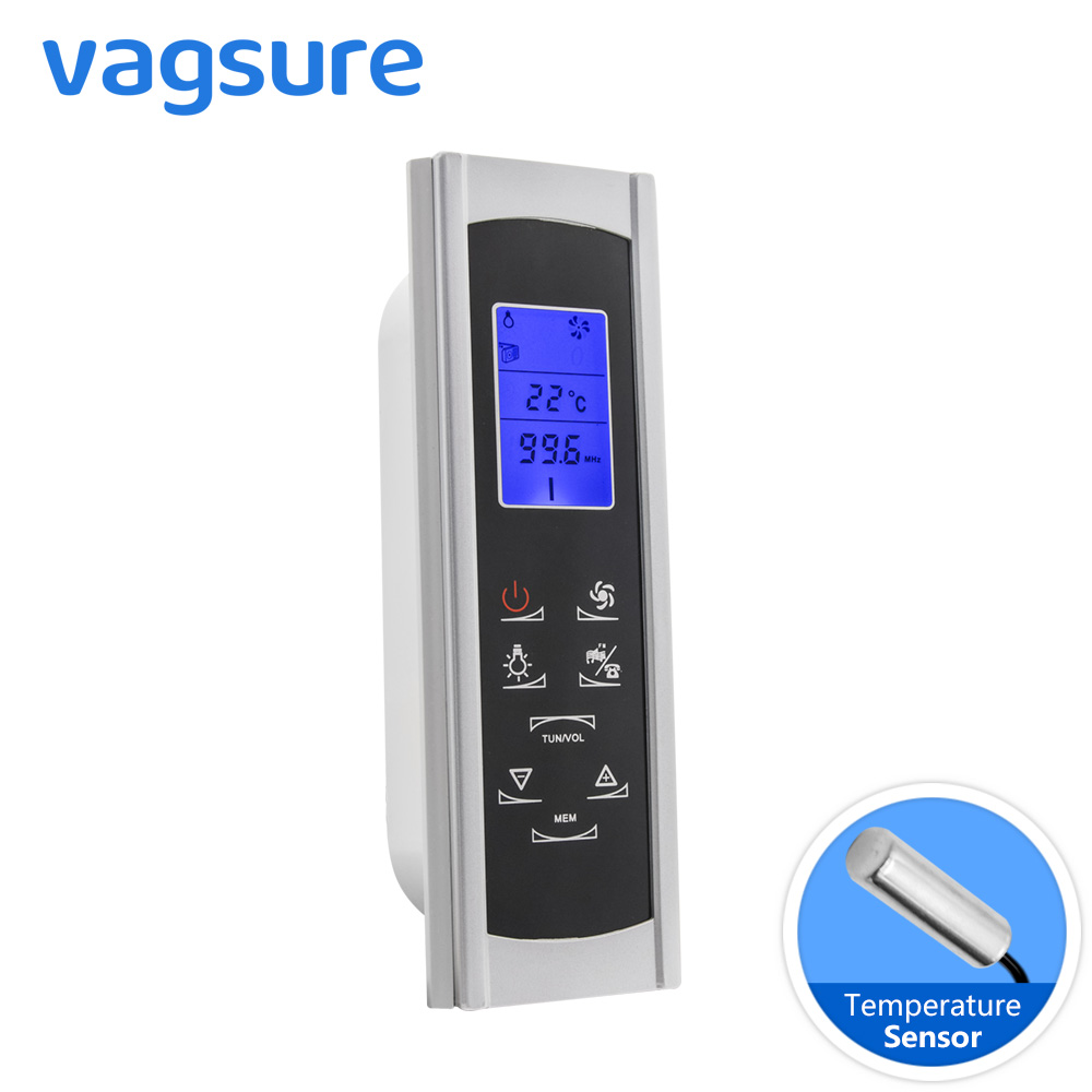 Vagsure 1pcs Controller AC 12V Induction Screen LCD Display Shower Cabin Computer Control Panel FM Radio