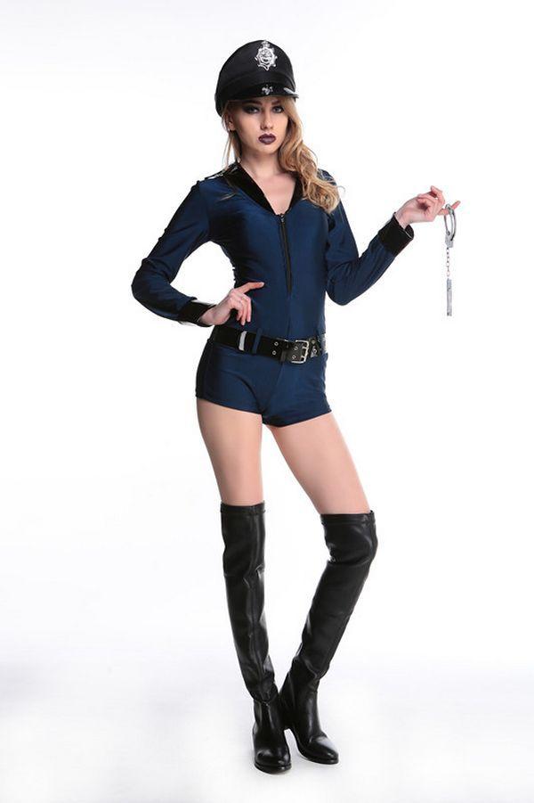 Halloween cosplay Policewoman Costumes zipper dress Nightclub DS Clubwear Sexy Lingerie Uniforms  Pole Carnival Fantasia costume