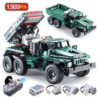 1369 шт. RC Rocket Launcher грузовик автомобиль Legoings техника военный городской автомобиль пульт дистанционного управления MOC строительные блоки кирп...