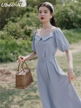 Ubei New Summer high-waisted dress blue long chiffon fashion peter pan sweet girl