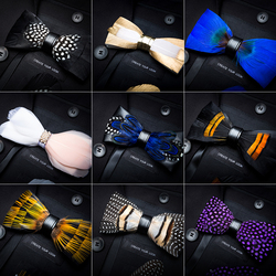 RBOCOTT Leather Bow Tie Men's Luxury Bowtie With Box Fashion Peacock Feather Bow Ties 12cm*5cm For Men Business Party Wedding 2