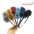 2017 fashion suede tessal flower hairband children fashion hair accessories plastic band with gripes teeth