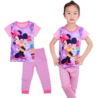 2017 Spring Fall New Minnie Cartoon Mouse Baby Toddlers Kids Girls Nightwear Pajamas Set Sleepwear Homewear