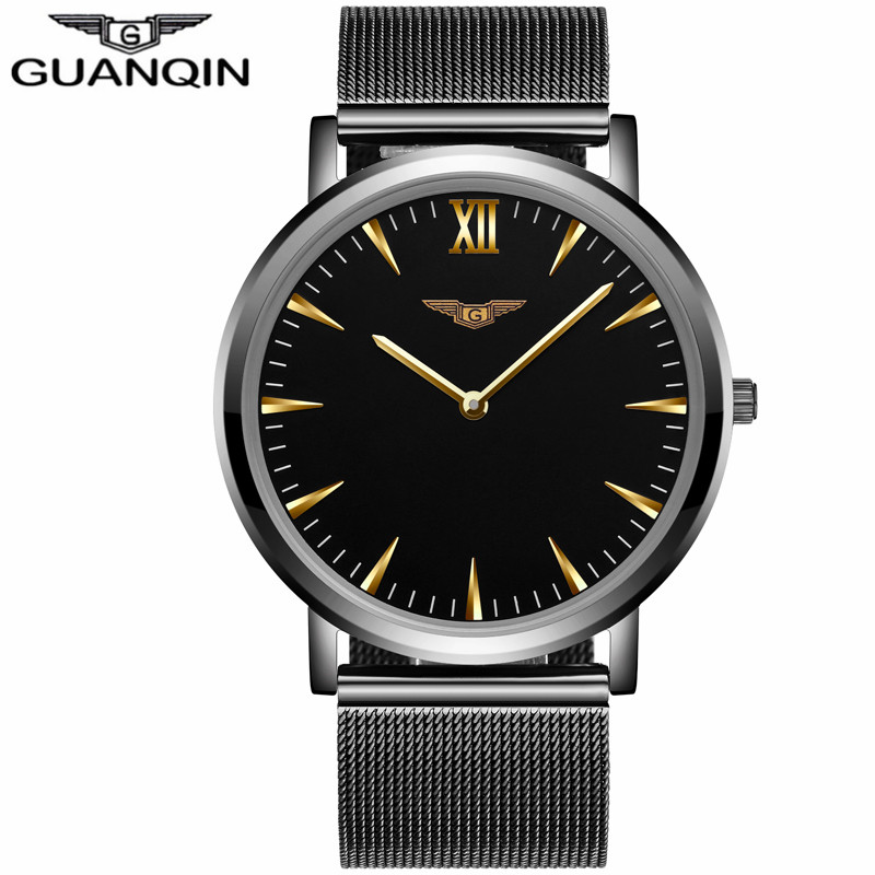 relogio masculino GUANQIN Top Brand Luxury Ultra Thin Mesh Strap Watches Simple Men Business Stainless Steel Quartz Wrist Watch fashion watch top brand oktime luxury watches men stainless steel strap quartz watch ultra thin dial clock man relogio masculino
