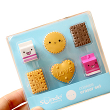 6pcs/pack Cartoon Boxed Milk Biscuit Eraser Cute Stationery School Girl Student Supplies Party Favor Gift