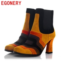 EGONERY shoes 2017 genuine leather high heel ankle boots round toe high quqlity shoes winter fashion sexy black shoes woman